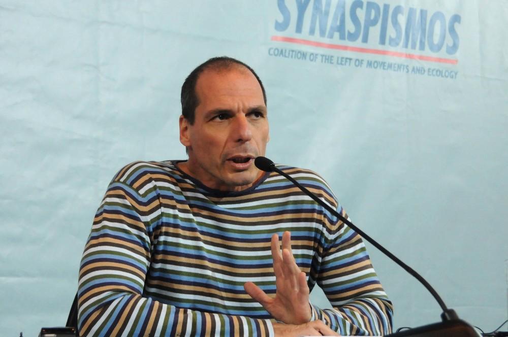 Yannis Varoufakis na debatě o řeckém dluhu zdroj: ecoleft.wordpress.com