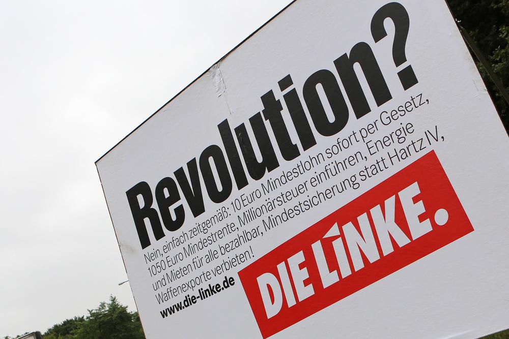 Předvolební bilboard  Die Linke. Zdroj: blog.deutschlandfunk.de