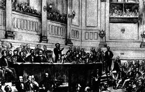 Delegáti na zakládajícím sjezdu první Internacionály v St Martin's hall v Londýně