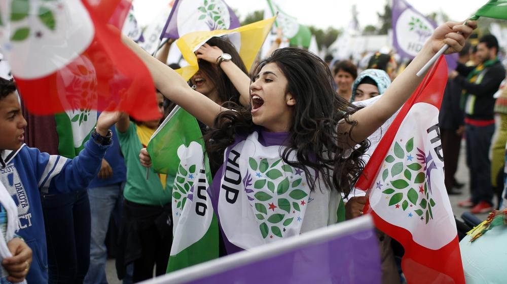 Příznivkyně strany HDP při tureckých volbách 7. června